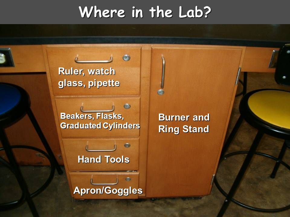 Where in the Lab Ruler, watch glass, pipette Burner and Ring Stand