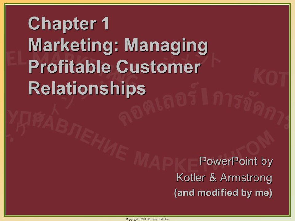 Chapter 1 Marketing: Managing Profitable Customer Relationships