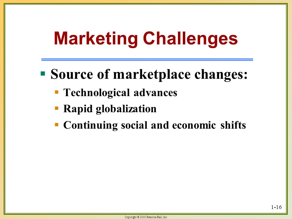 Marketing Challenges Source of marketplace changes: