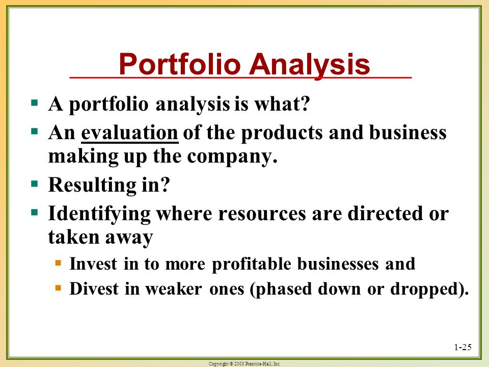 Portfolio Analysis A portfolio analysis is what