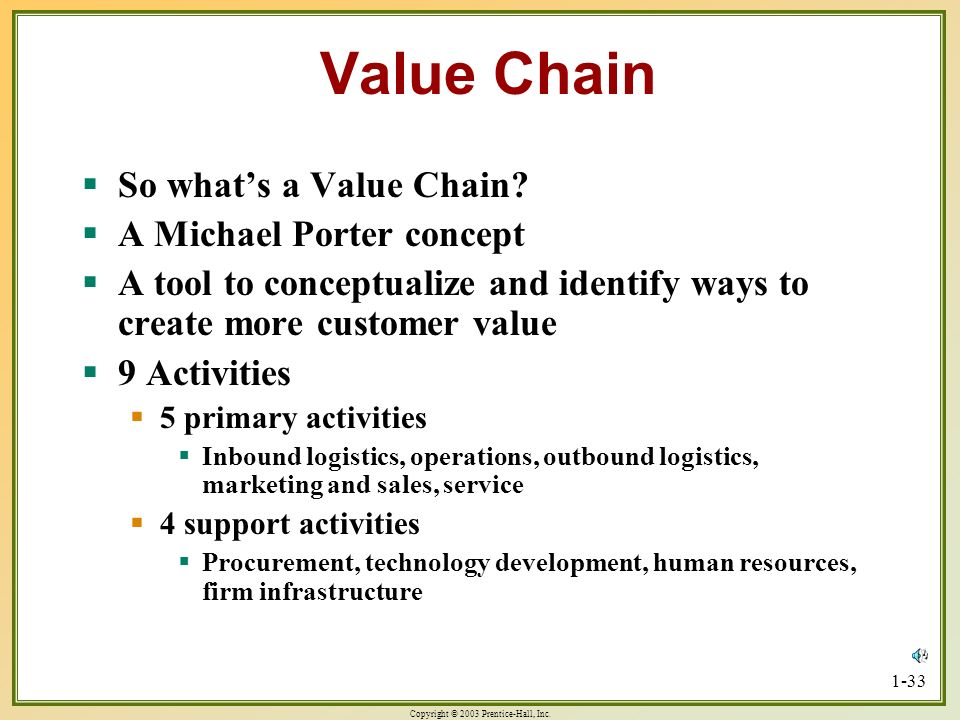 Value Chain So what's a Value Chain A Michael Porter concept