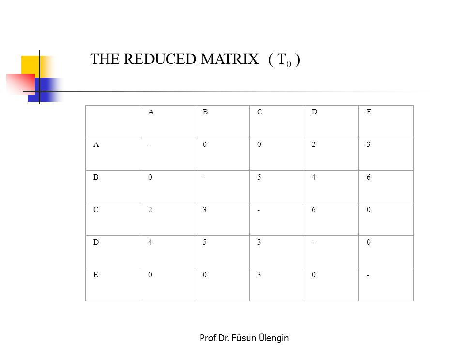 THE REDUCED MATRIX ( T0 ) A B C D E Prof.Dr. Füsun Ülengin