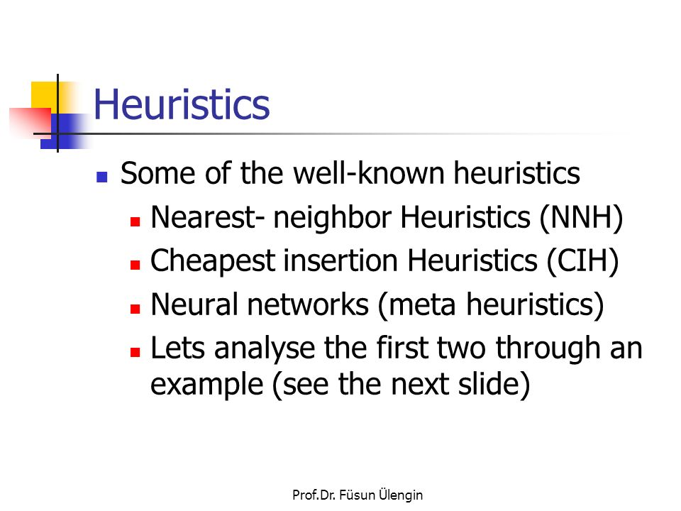 Heuristics Some of the well-known heuristics