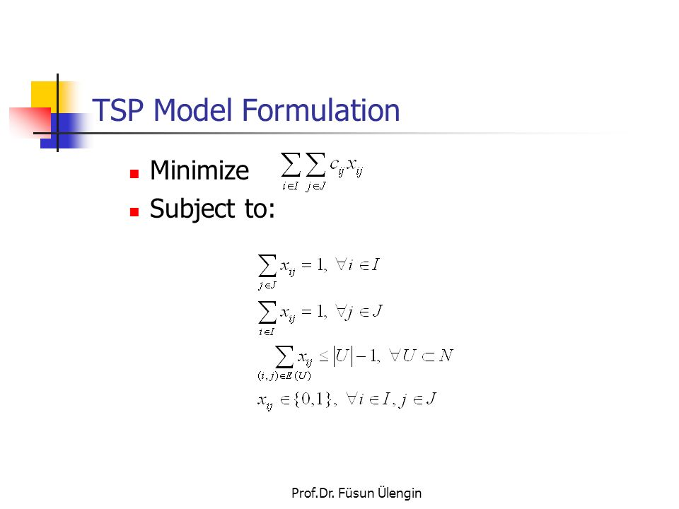 TSP Model Formulation Minimize Subject to: Prof.Dr. Füsun Ülengin