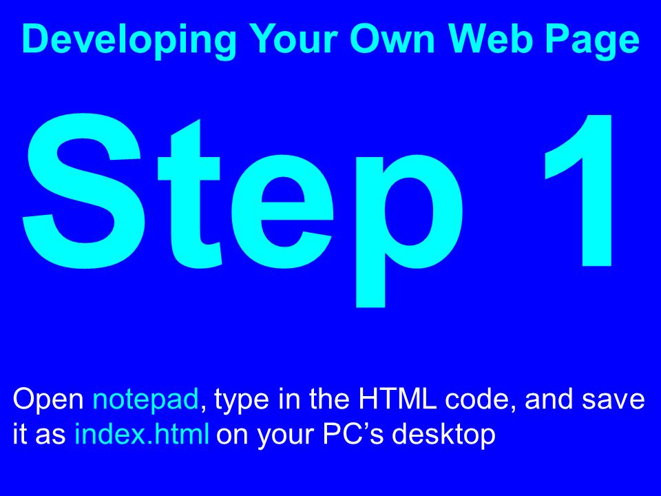 Developing Your Own Web Page