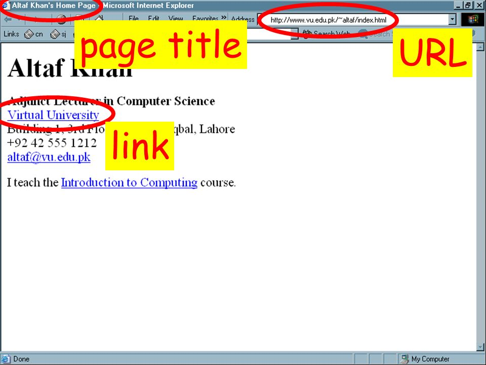 page title URL link