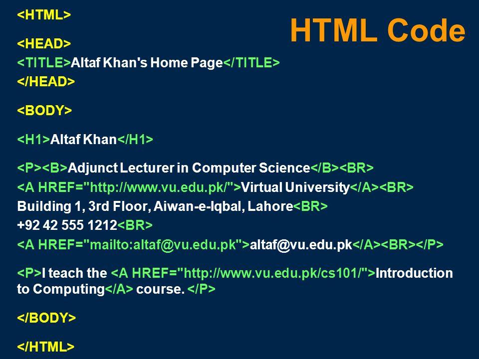HTML Code <HTML> <HEAD>