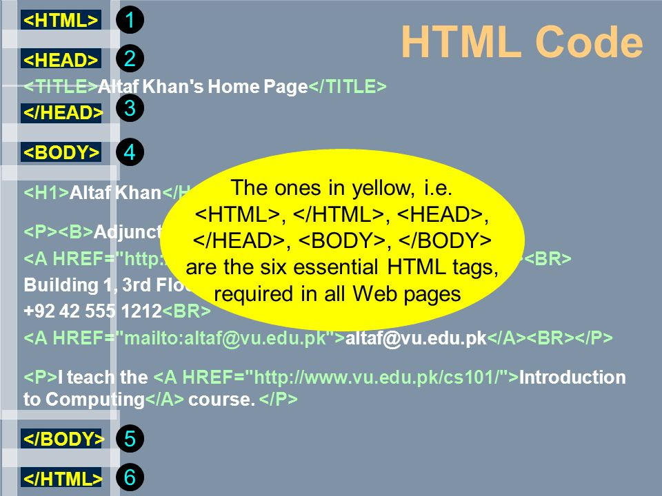 HTML Code 1 2 3 4 The ones in yellow, i.e.