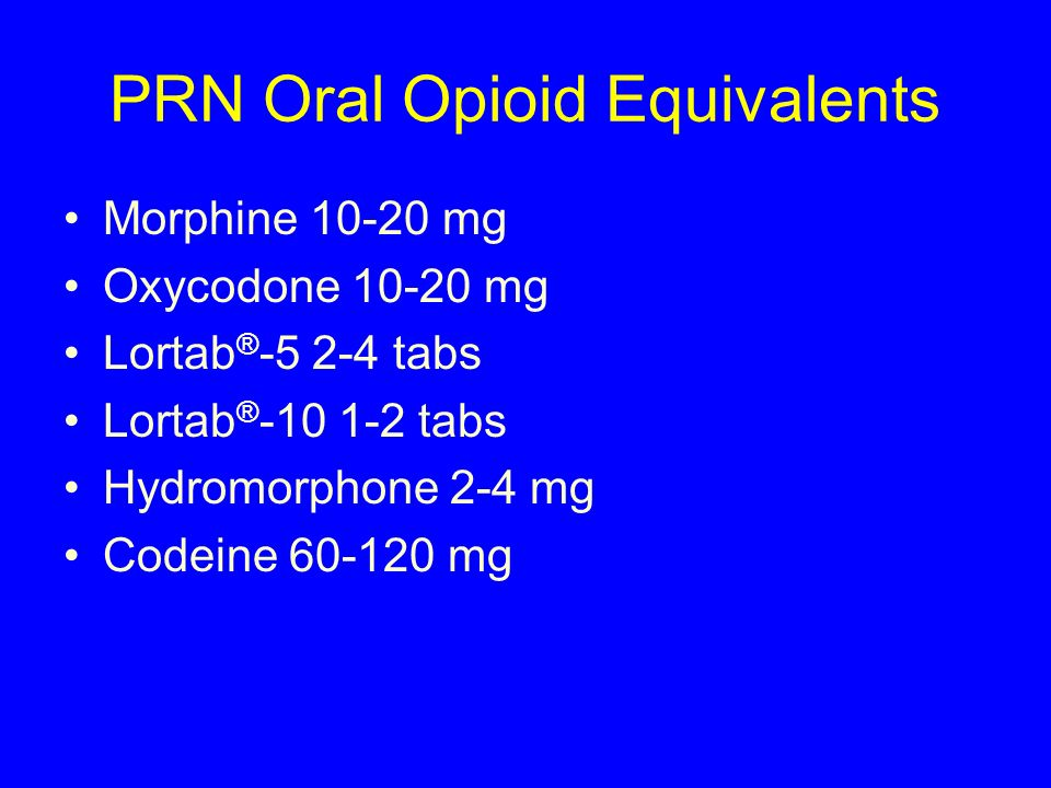 PRN Oral Opioid Equivalents