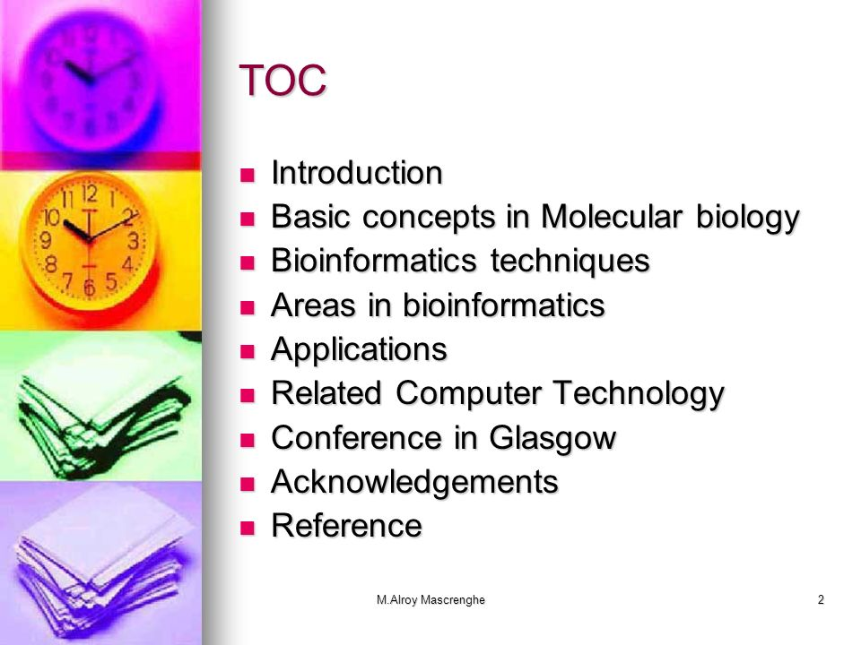 TOC Introduction Basic concepts in Molecular biology