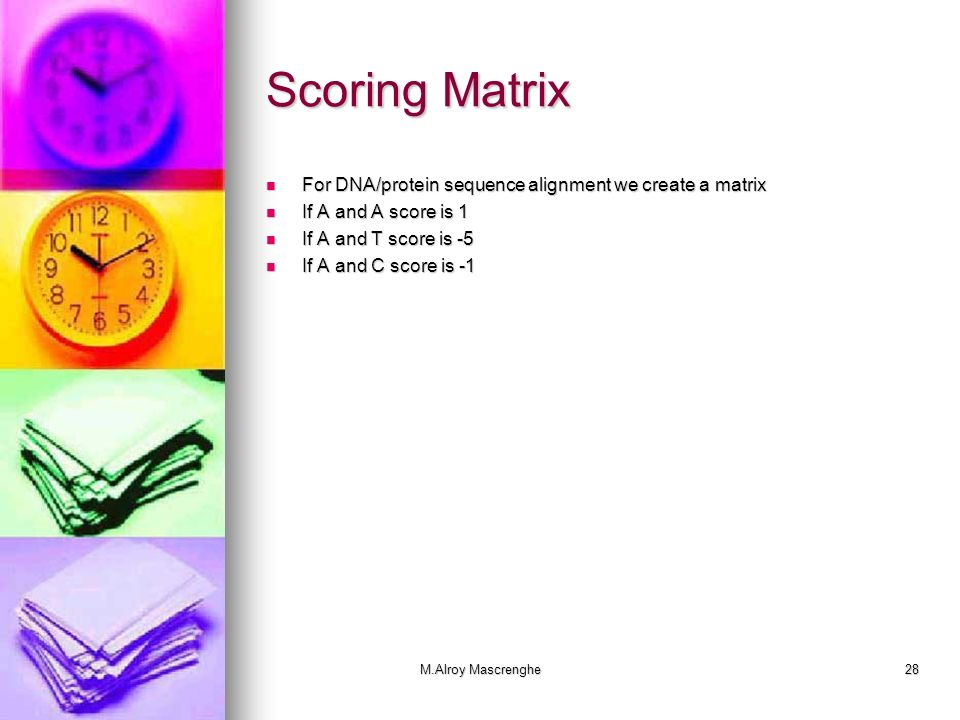 Scoring Matrix For DNA/protein sequence alignment we create a matrix