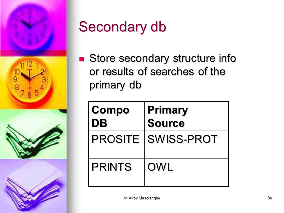 Secondary db Store secondary structure info or results of searches of the primary db. Compo DB. Primary Source.