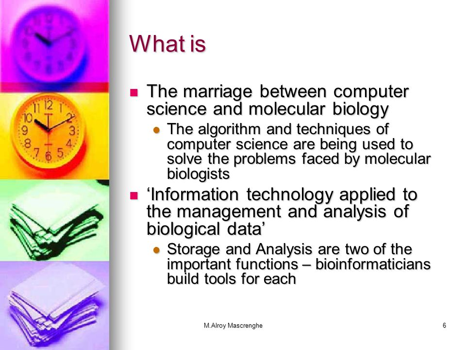 What is The marriage between computer science and molecular biology
