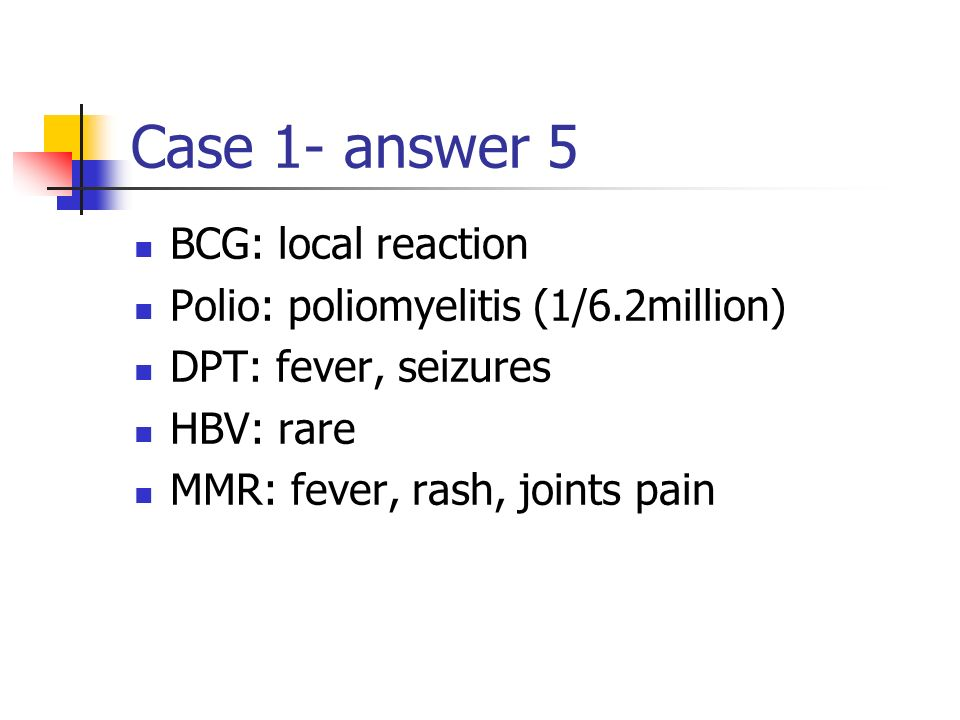 Case 1- answer 5 BCG: local reaction