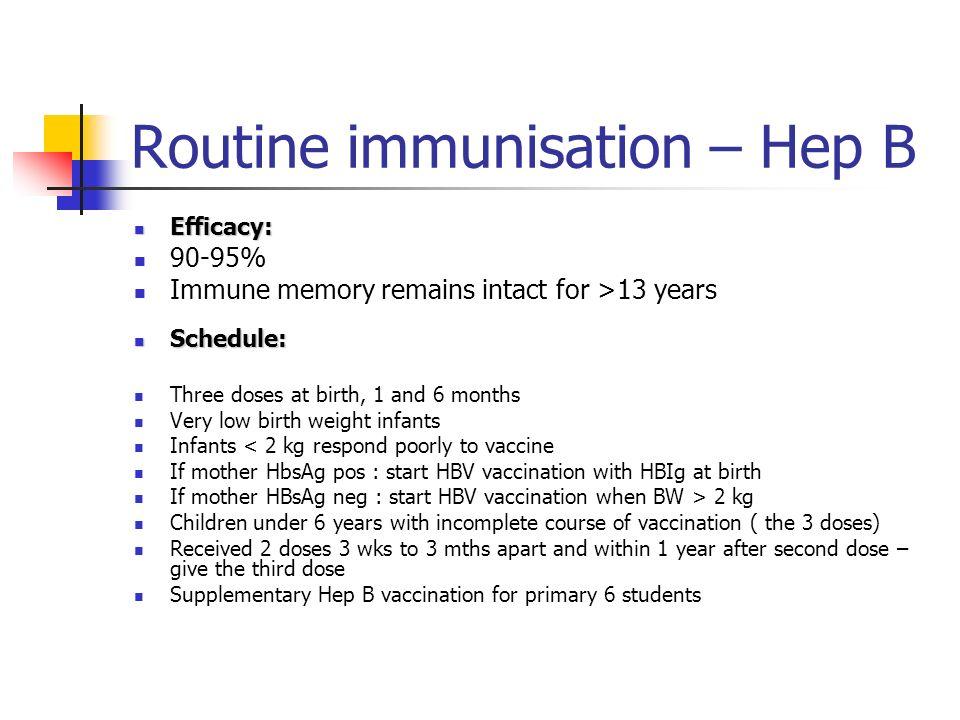 Routine immunisation – Hep B