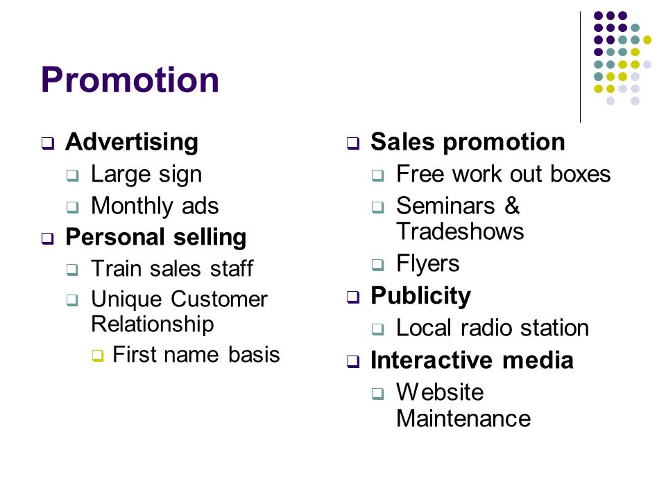 Promotion Advertising Sales promotion Publicity Interactive media