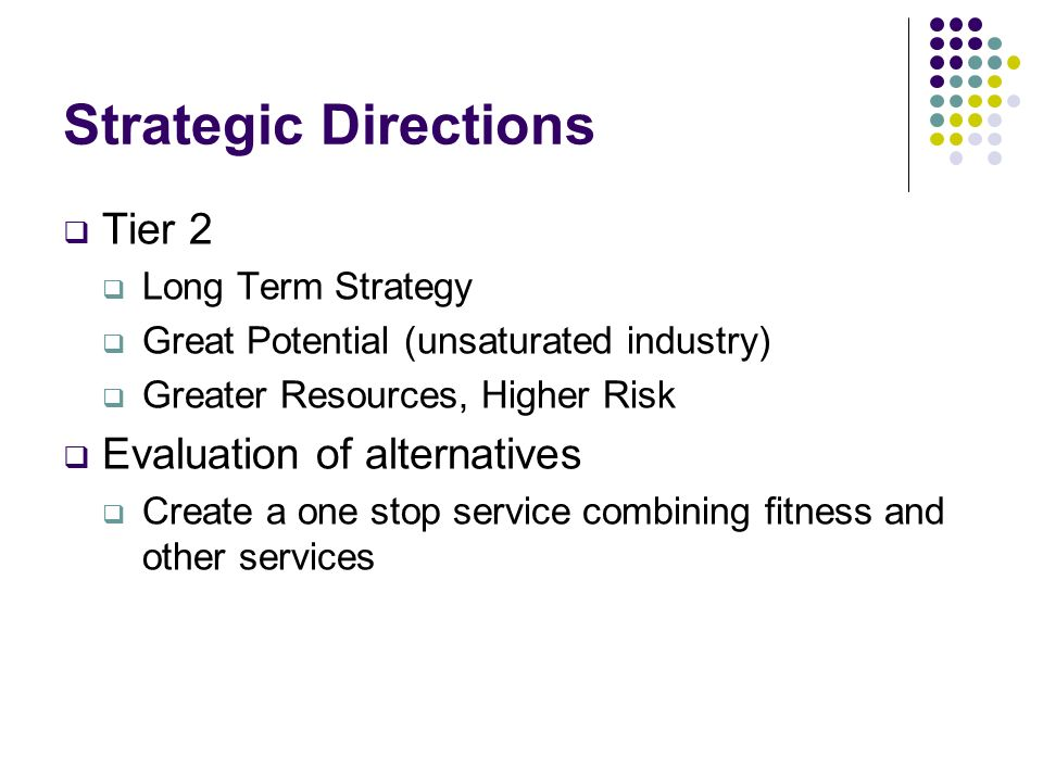 Strategic Directions Tier 2 Evaluation of alternatives