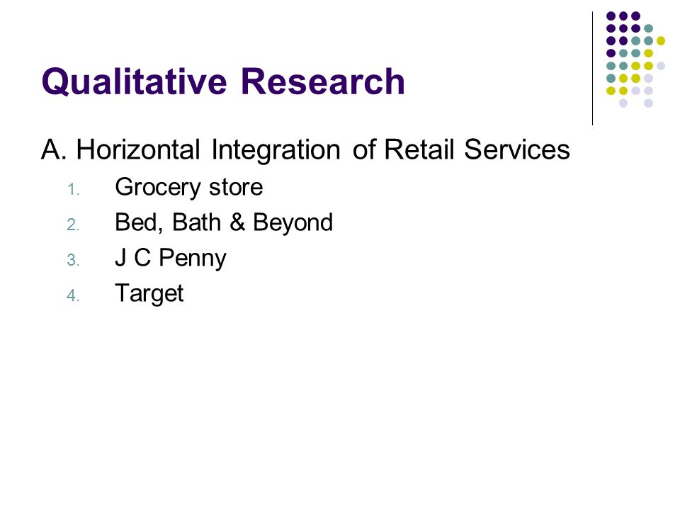 Qualitative Research A. Horizontal Integration of Retail Services