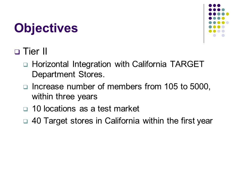 ObjectivesTier II. Horizontal Integration with California TARGET Department Stores. Increase number of members from 105 to 5000, within three years.