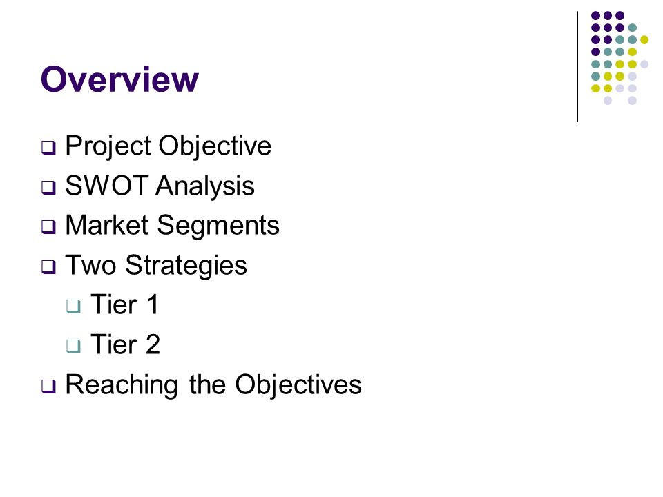 Overview Project Objective SWOT Analysis Market Segments