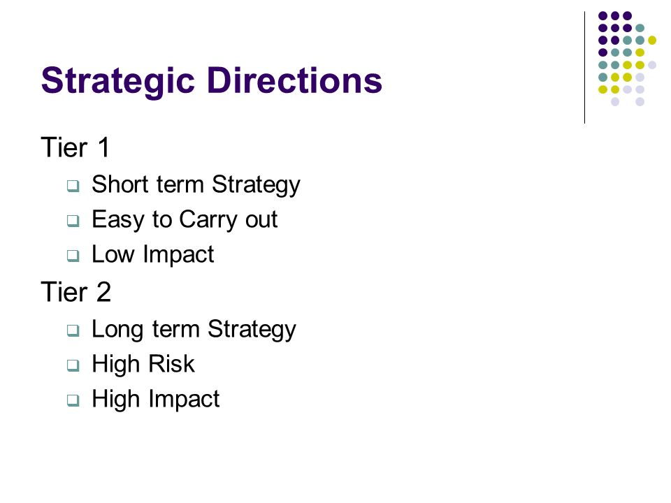 Strategic Directions Tier 1 Tier 2 Short term Strategy