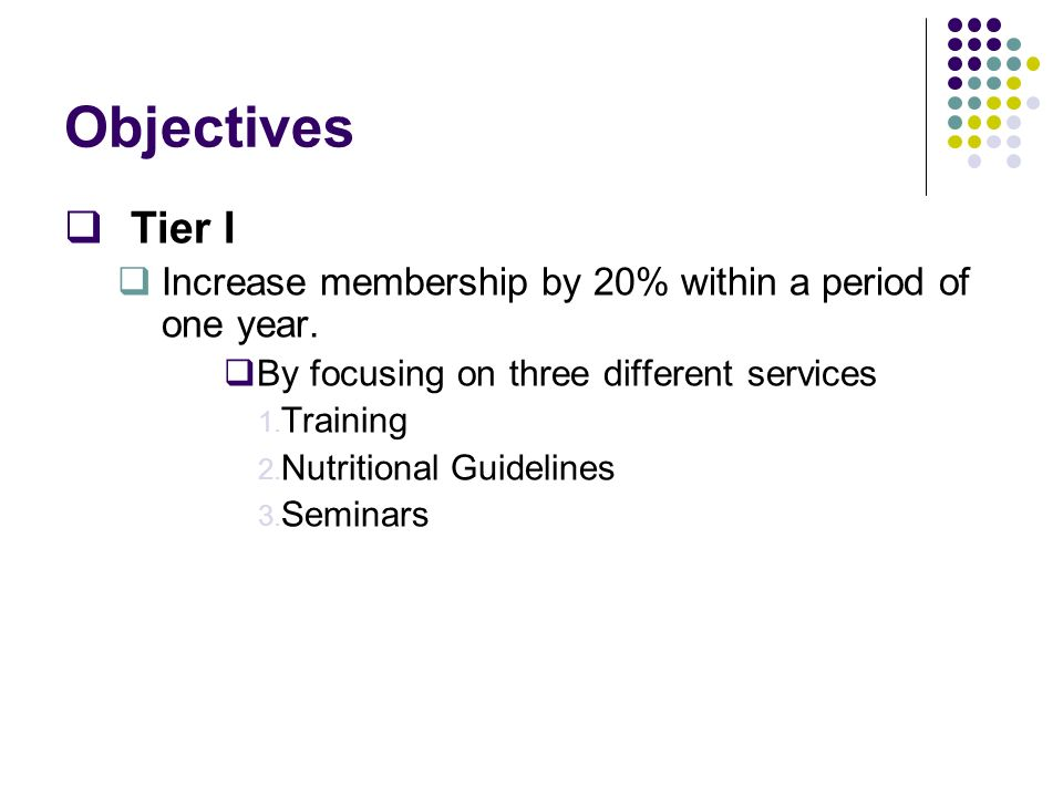 ObjectivesTier I. Increase membership by 20% within a period of one year. By focusing on three different services.