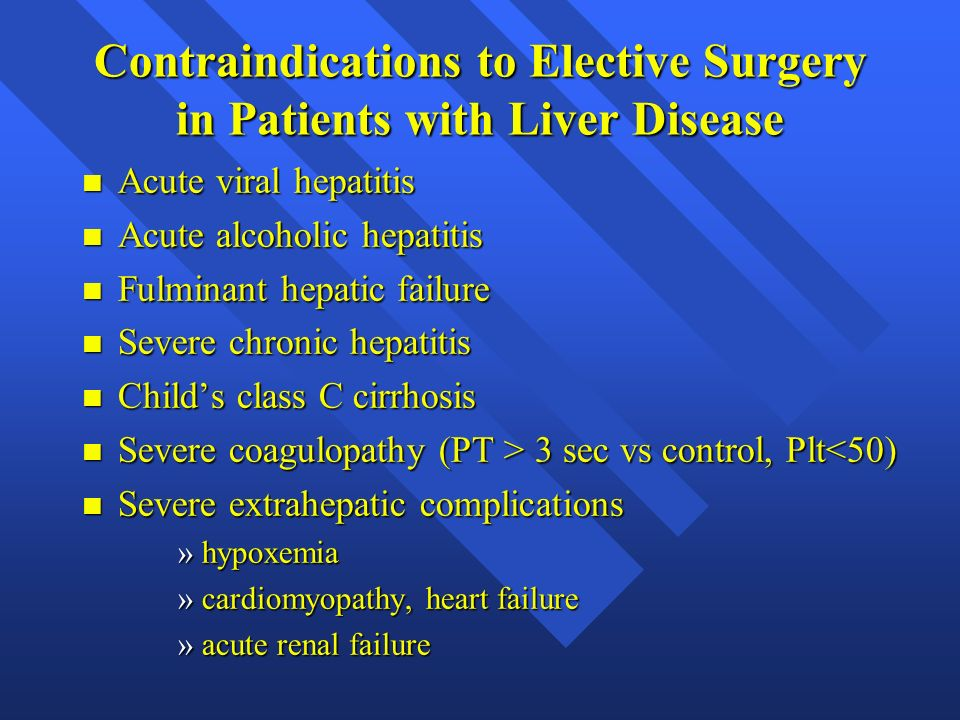 Contraindications to Elective Surgery in Patients with Liver Disease