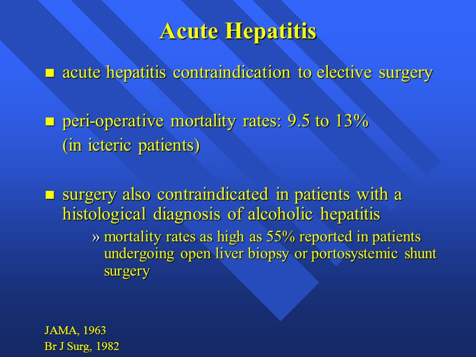 Acute Hepatitis acute hepatitis contraindication to elective surgery