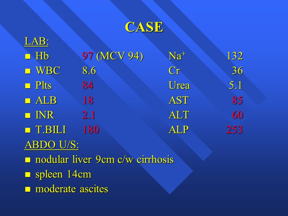 CASE LAB: Hb 97 (MCV 94) Na+ 132 WBC 8.6 Cr 36 Plts 84 Urea 5.1