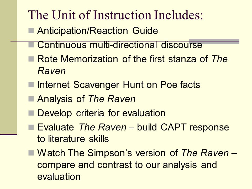 The Unit of Instruction Includes: