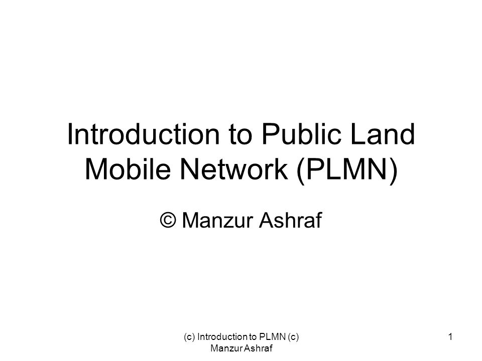 Introduction to Public Land Mobile Network (PLMN)