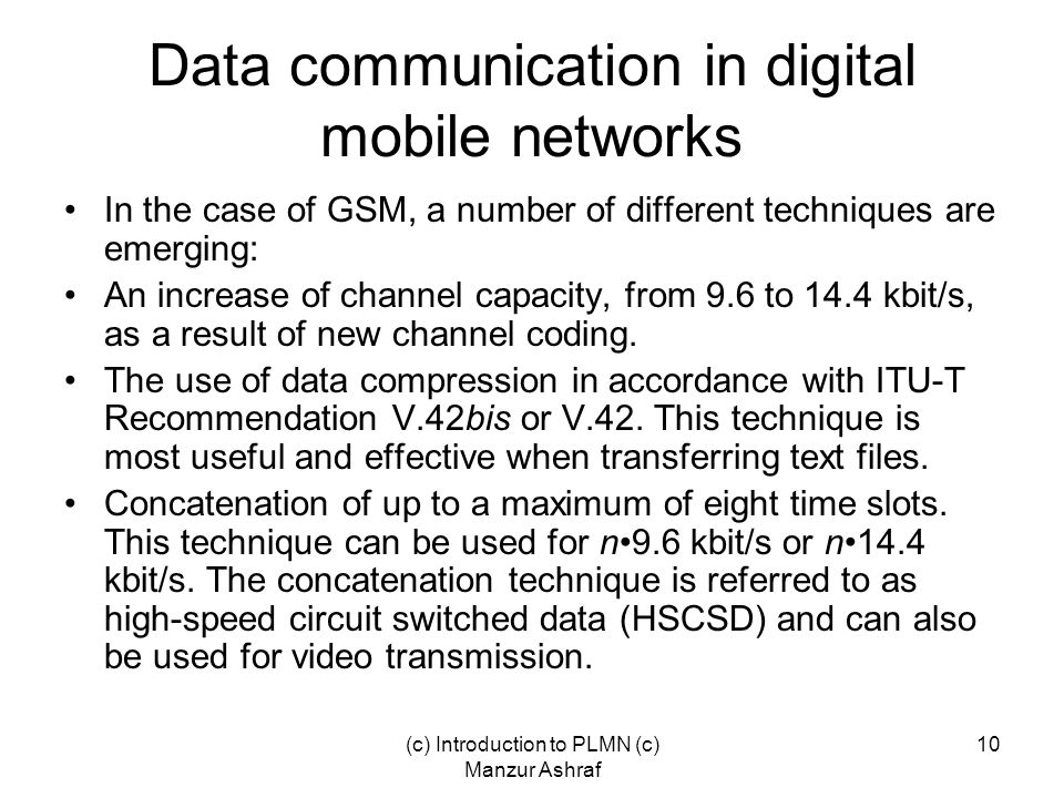 Data communication in digital mobile networks