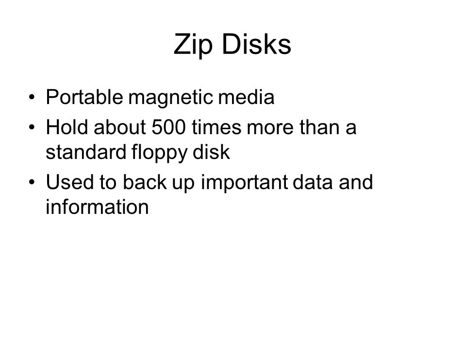 Zip Disks Portable magnetic media