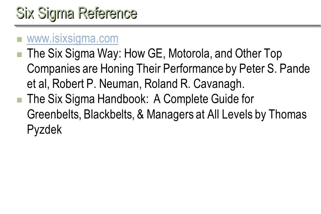 Six Sigma Reference www.isixsigma.com