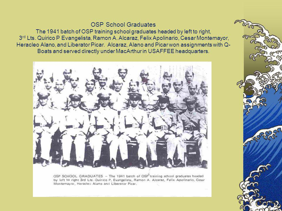 OSP School Graduates The 1941 batch of OSP training school graduates headed by left to right, 3rd Lts.