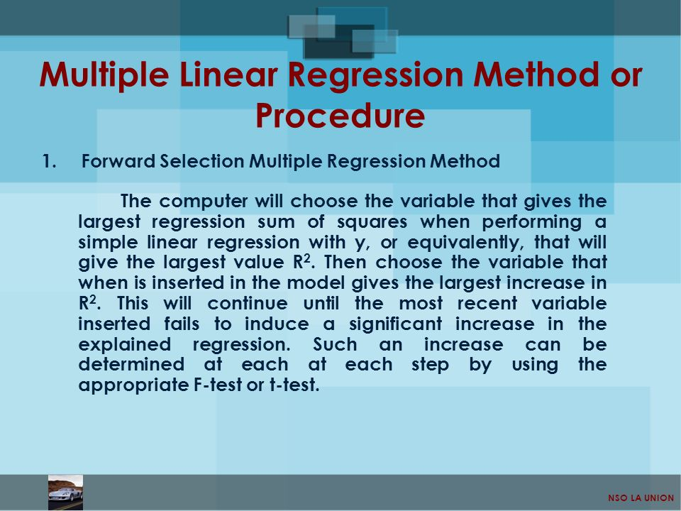 Multiple Linear Regression Method or Procedure