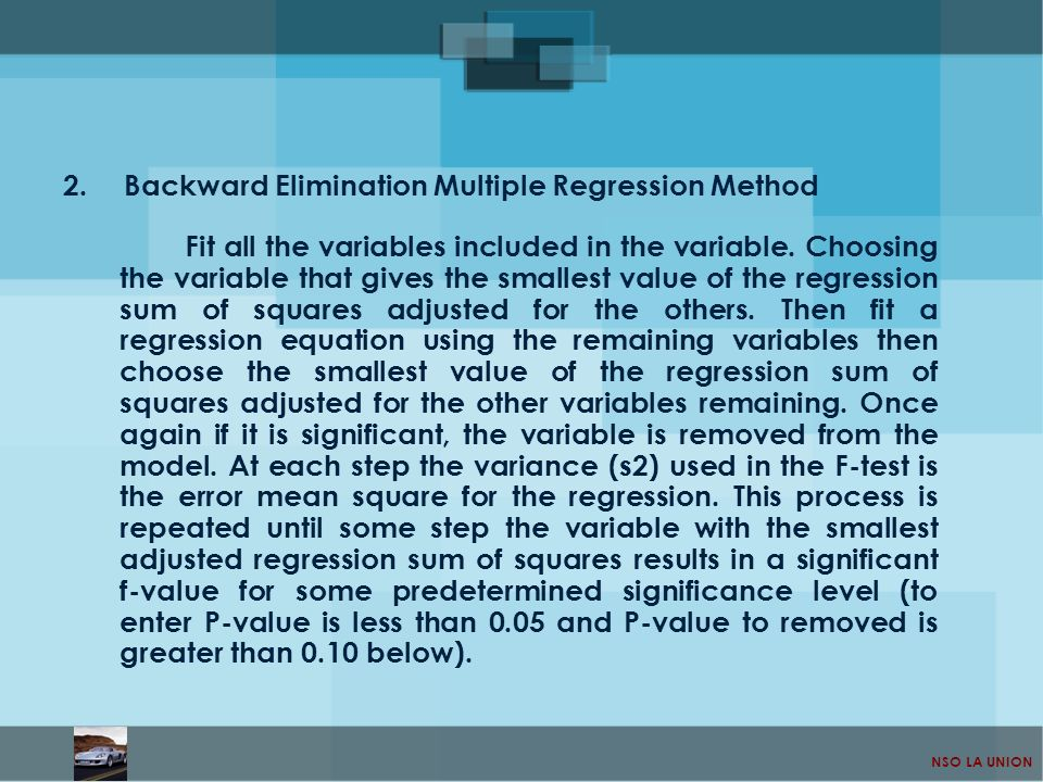 Backward Elimination Multiple Regression Method