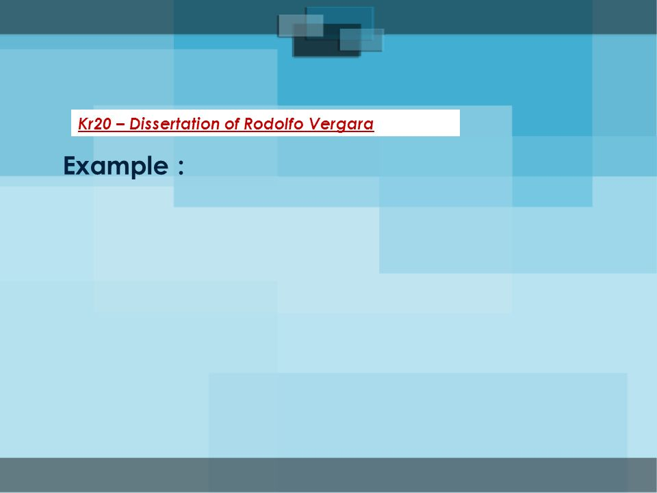 Kr20 – Dissertation of Rodolfo Vergara