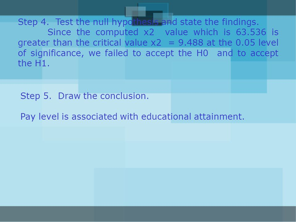 Step 4. Test the null hypothesis and state the findings.