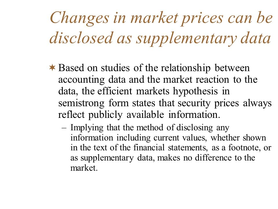 Changes in market prices can be disclosed as supplementary data