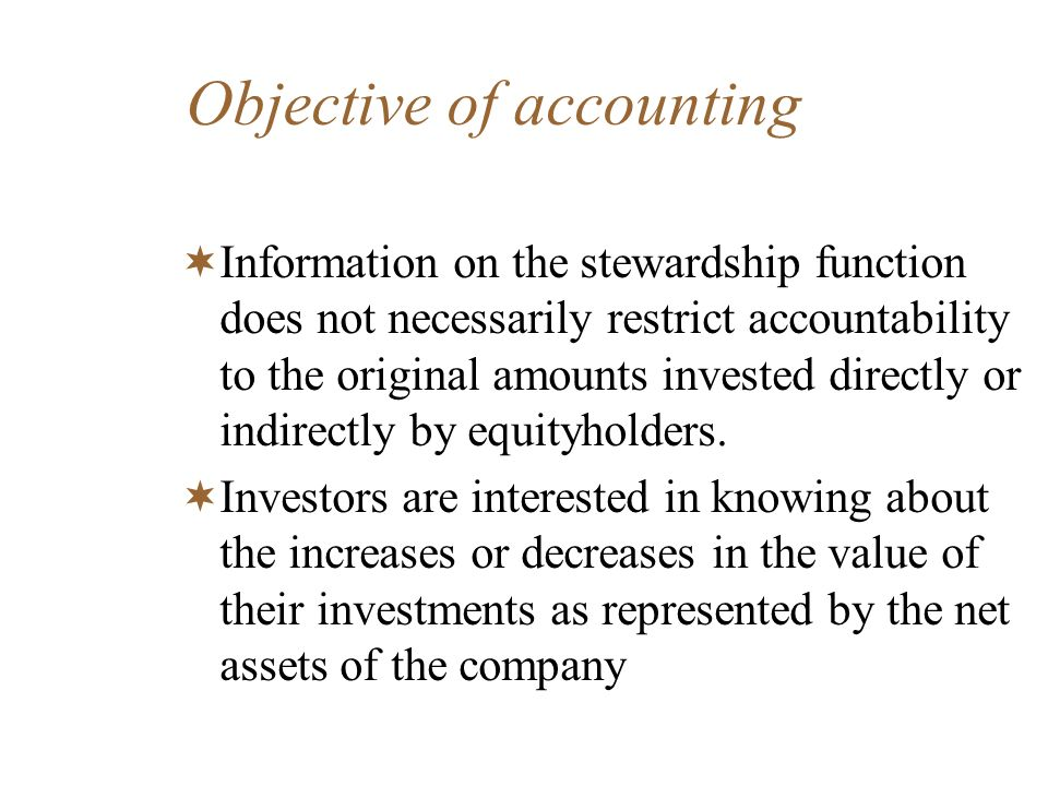 Objective of accounting