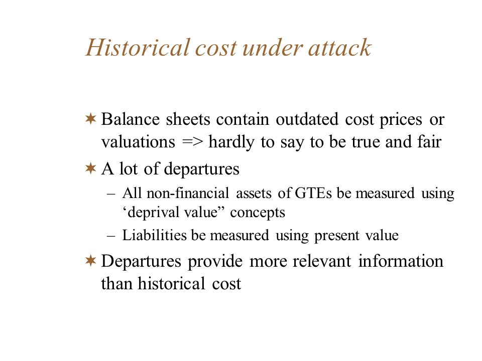 Historical cost under attack