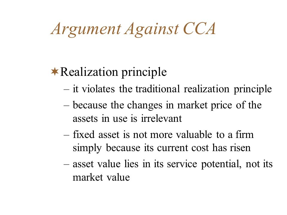 Argument Against CCA Realization principle