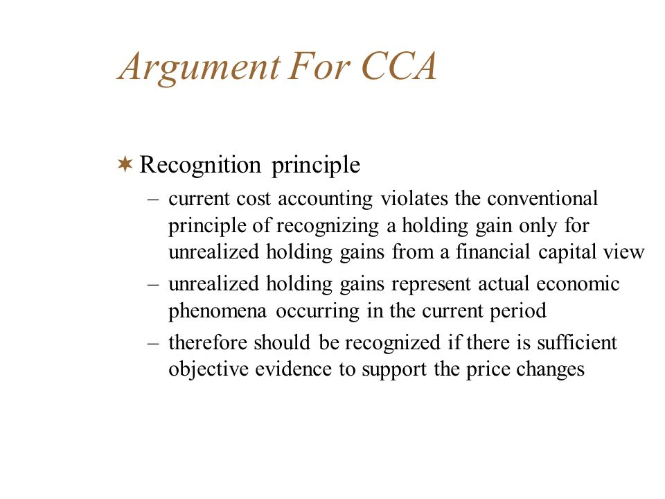 Argument For CCA Recognition principle