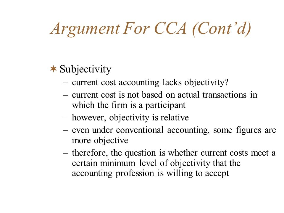 Argument For CCA (Cont'd)