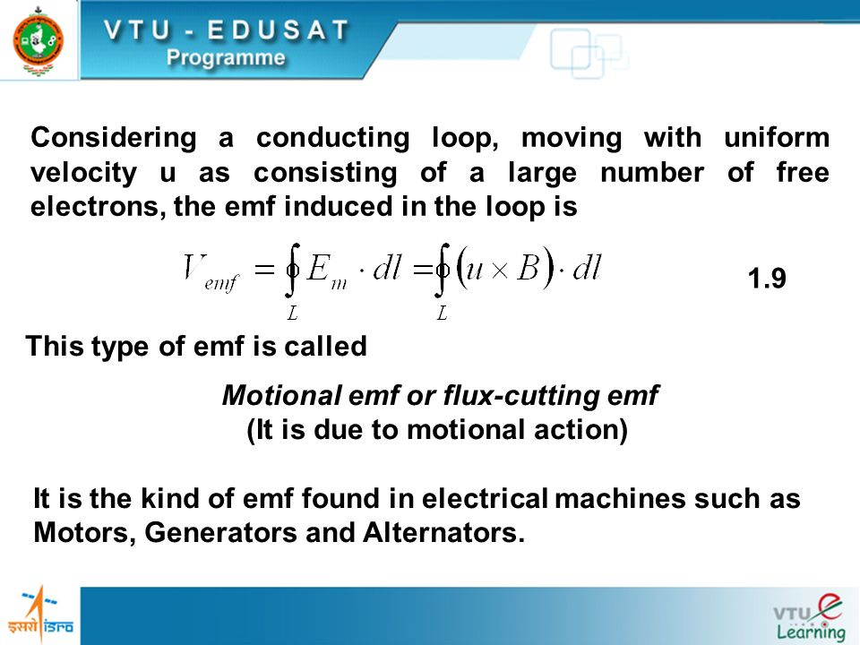 Considering a conducting loop, moving with uniform velocity u as consisting of a large number of free electrons, the emf induced in the loop is