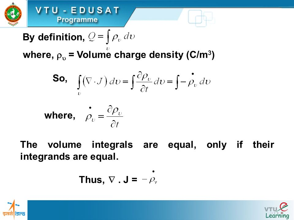 where,  = Volume charge density (C/m3)