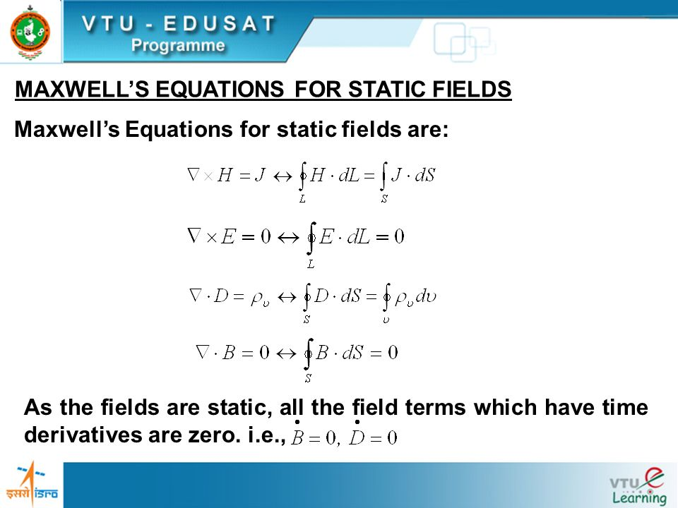 MAXWELL'S EQUATIONS FOR STATIC FIELDS
