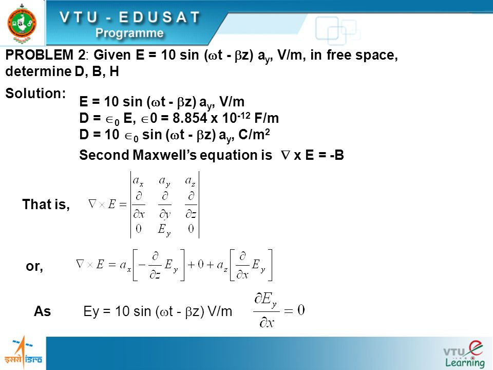 PROBLEM 2: Given E = 10 sin (t - z) ay, V/m, in free space, determine D, B, H