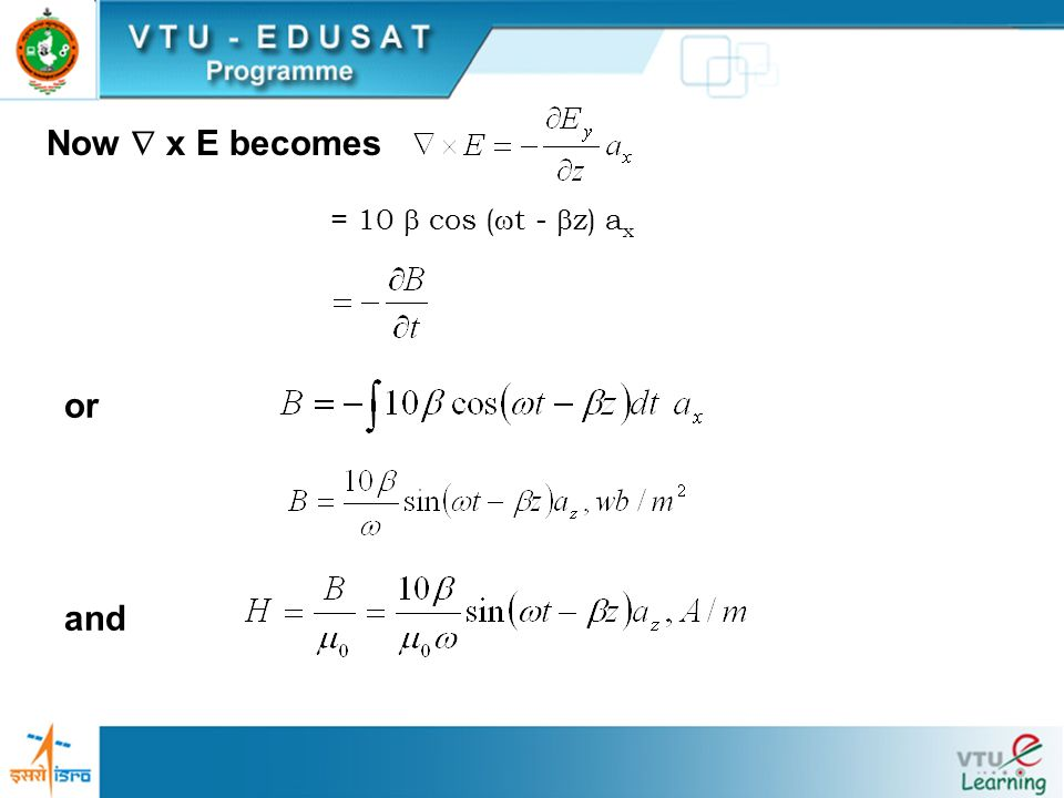 Now  x E becomes = 10  cos (t - z) ax or and